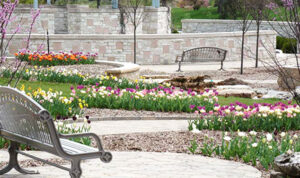 Red Bud Valley offers a mid-century traditional setting for burial, with grave spaces organized in rows throughout.